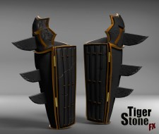 Batman Ninja gauntlets - finished sculpt (back) - made by Tiger Stone FX